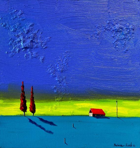 Behruz Kuul-Kırmızı Ev ve Selviler, Tuval Üzerine Yağlıboya, 50x50 cm, İmzalı
