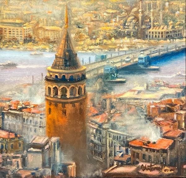 Nihat Evren Derman-Galata Kulesi, Tuval Üzerine Yağlıboya, 25x24 cm, İmzalı